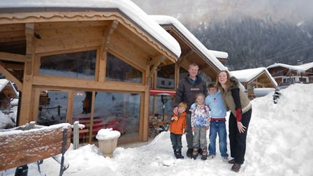 Francesca and Paul Eyre with their children Ben, Eloise and Jamie at home in Morzine