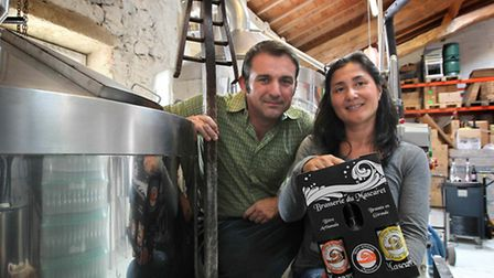 Fabrice Rivière and his wife Pauline in the brewery © Caroline Bishop