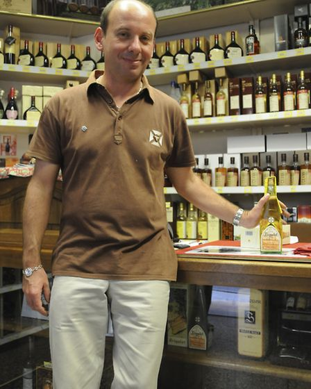 Wineseller Olivier Rognard with his exclusive Le Frigolet liqueur