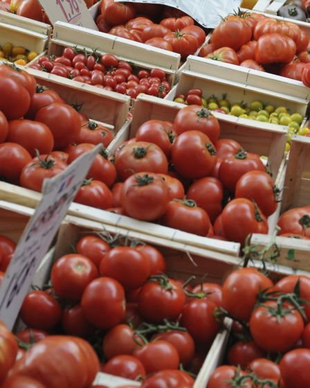 Some of the many different tomatoes on offer at the Saturday market