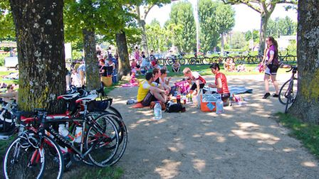 Enjoying a picnic lunch in Annecy