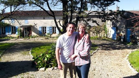 Sue and Andy outside their home in Charente-Maritime