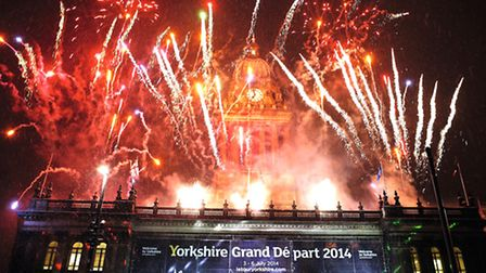 Fireworks at Leeds Town hall during the Grand Départ launch