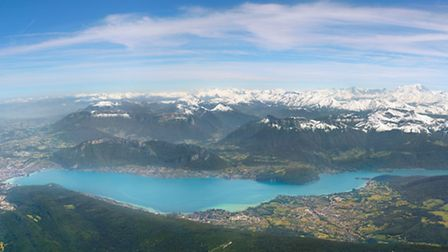 In this birds-eye view of Lake Annecy, the town of Annecy is on the left and St Jorioz, one of two l