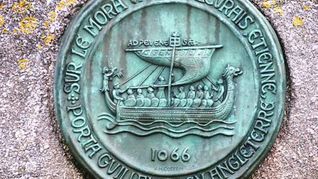 The copper plaque marking the departure of William the Conqueror's ship from the port in 1066