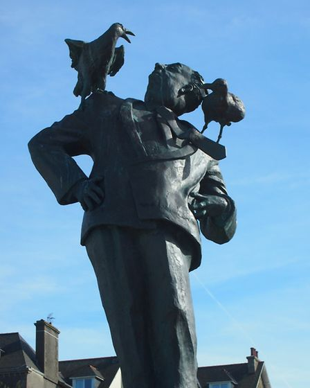 The statue in Dinard of director Alfred Hitchcock evokes one of his most famous films, The Birds