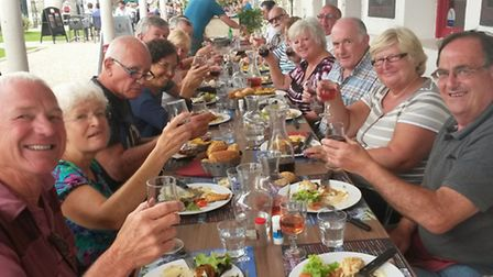 Kathy and Paul Conner enjoy lunch with friends