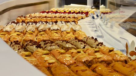 A delectable array of fresh French éclairs