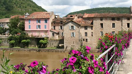 Picturesque St-Antonin-Noble-Val on the banks of the River Aveyron