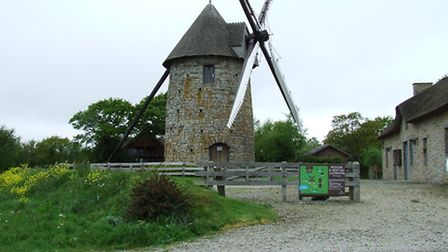 One of several moulins à vent in the Cotentin area