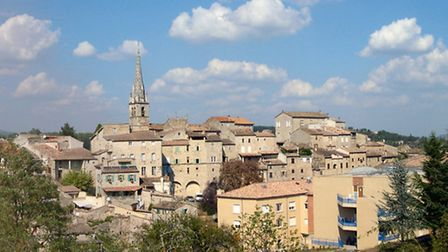 The skyline of nearby Joyeuse, named after Emperor Charlemagne's sword