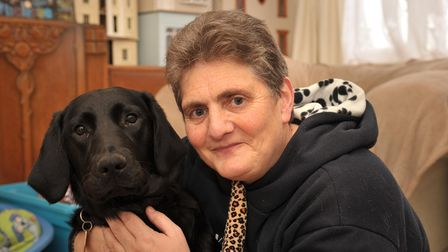 Penny Parker with guide dog Kerry.