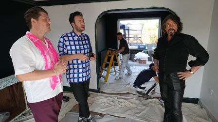 Laurence Llewelyn-Bowen and designers Russell Whitehead and Jordan Cluroe get to work