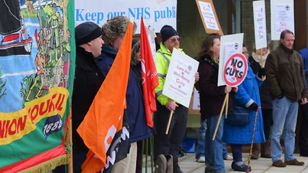 People demonstrating against the proposed cuts to by the county at County Hall, Norwich.PHOTO BY SIM
