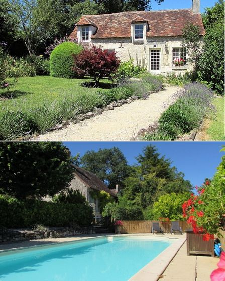 cottage style property with front garden, second image shows a communal pool