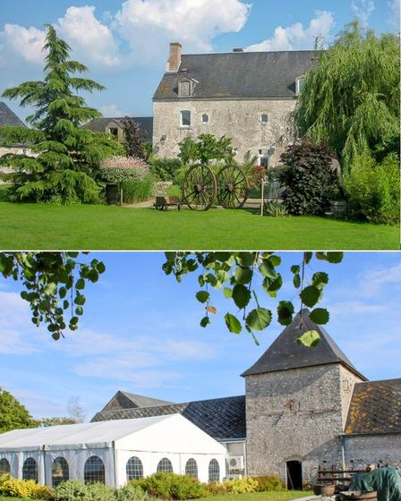 Large stone property with an event marquee