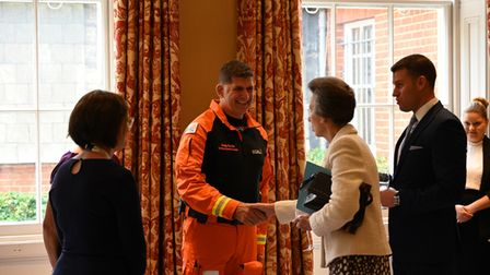 HRH The Princess Royal introduced to Magpas Air Ambulance CCP and Clinical Operations Manager Andy Smith