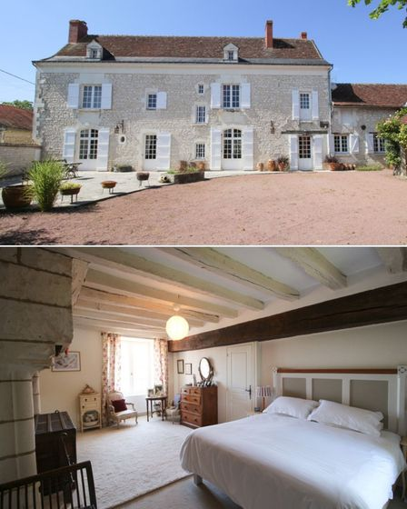 Pale stone house with red roof and white shutters, second image large bedroom with exposed wooden beam