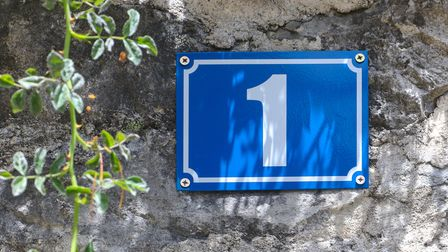 House number one in white color on a blue metal plate on stone wall and branch of rose plant hanging