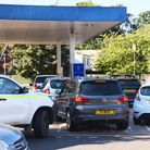Queues building at the Tesco Express Fiveways petrol station in Norwich. Picture: DENISE BRADLEY