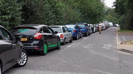 Motorists queue outside a petrol station in Clacton