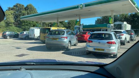Queues outside the BP petrol station in Rougham Road, Bury St Edmunds