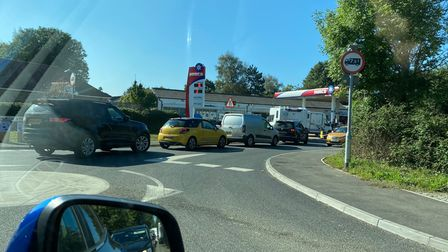 Drivers queue up to get fuel in Woolpit, near Bury St Edmunds