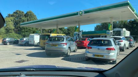 Drivers queue up at the BP fuelling station in Rougham Road, Bury St Edmunds
