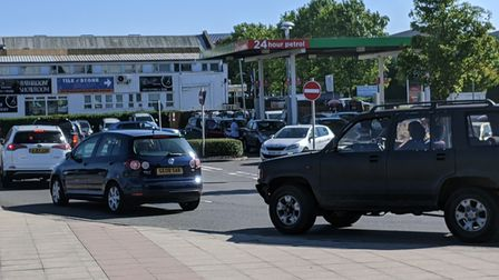 Motorists queue up to get fuel at Asda in Bury St Edmunds