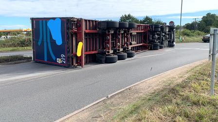 A lorry has overturned on the A47 near King's Lynn.
