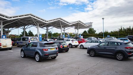 Panic buying at the fuel pumps.,Tesco Hampton, PeterboroughFriday 24 September 2021.Picture by T