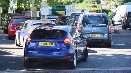 Queues for fuel at Asda in Norwich. Picture: DENISE BRADLEY