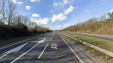 The A14 slip road near Needham Market has been closed due to a collision