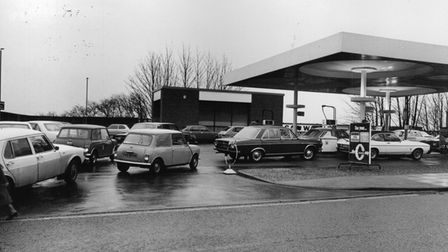 Queuing at Ber Street garage in Norwich, in 1981.