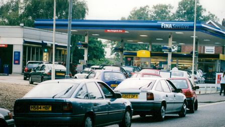 Queues for petrol at a Fina filling station in Norwich.