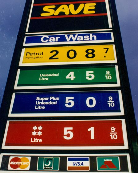 Prices at a Norfolk petrol station in 1994.