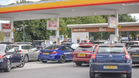 Lines of traffic are forming along the A12 at Woodbridge as motorists queue up to get fuel at the Sh