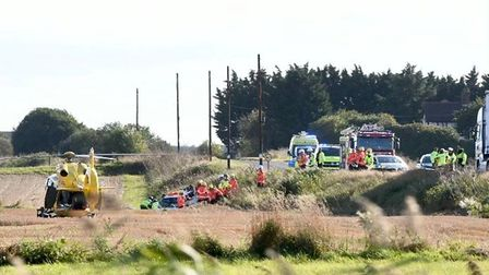 Three vehiclescollided on the A141 between March and Guyhirn in Cambridgeshire just after 3pm.