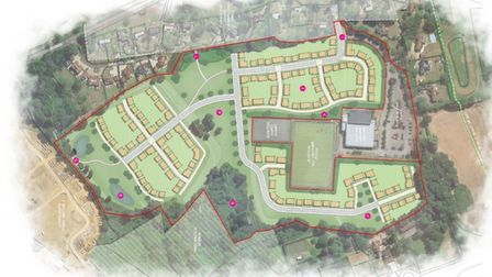 A bird's eye view rendering of a 200-home development on the Helena Romanes School site in Great Dunmow