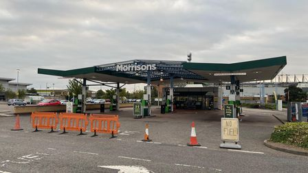"""Morrisons at Riverside has put out a """"no fuel"""" sign"""