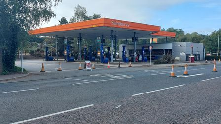 Sainsbury's Warren Heath fuel station is one of several across Ipswich closed today