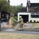 Fire fighters at the scene of the garage and bungalow fire in Creeting St Mary. Picture: DENISE BRAD