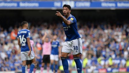 Macauley Bonne voices his opinion of the officials at Portman Road against Sheffield Wednesday