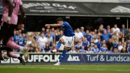 Macauley Bonne has a great second half chance blocked at Portman Road against Sheffield Wednesday