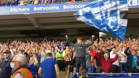 Ipswich Town fans celebrate after their late equaliser against Sheffield Wednesday yesterday