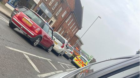 Queues in Dartford Road, March, for the BP garage