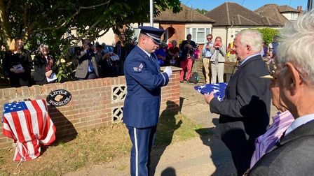 A folded US flag presented to the people of Hatfield Heath by the USAF Honor Guard