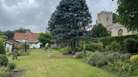 View of the garden at The Long House, Hempnall, which is for sale