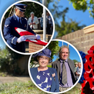 Composite image: Insets - People pay tribute to three US airmen who died in Hatfield Heath in 1944; Main - a memorial