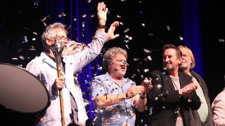 Griff Rhys Jones on stage at the Regent with stars Rory McGrath, Lee Mack and Rick Wakeman at the 20